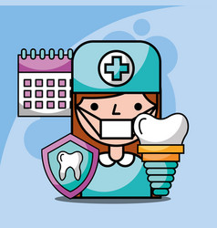 dentist girl dental implant calendar treatment vector image