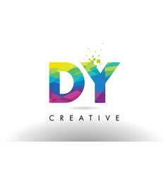 Dy d y colorful letter origami triangles design vector