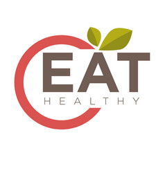 Eat healthy emblem vector