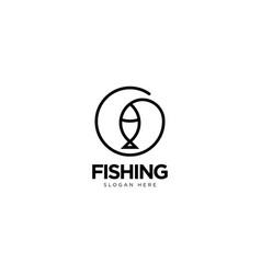 Fishing logo design outline monoline vector