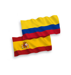 Flags colombia and spain on a white background vector