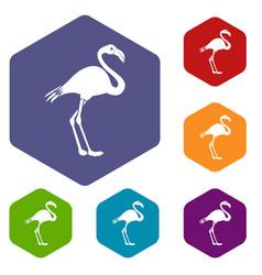 flamingo icons set vector image