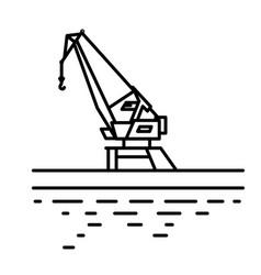 Flat linear port crane vector