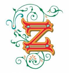 floral letter z vector image