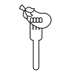 Fork with beet fresh vegetable isolated icon vector