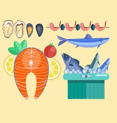 fresh seafood flat fish vector image