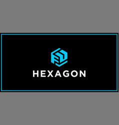 fu hexagon logo design inspiration vector image