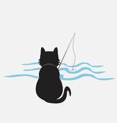 funny kitten media cat fisherman catches fish vector image