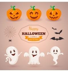 Ghosts pumpkins and bats vector