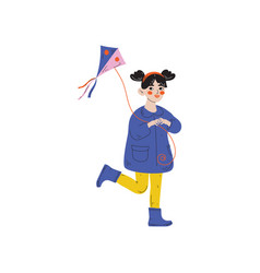 girl playing kite kids spring or summer outdoor vector image