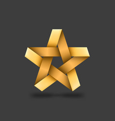 golden metallic star on dark background vector image