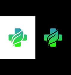 health care leaf hospital medical clinic logo vector image