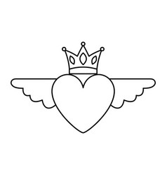 heart in love with wings crown decoration vector image