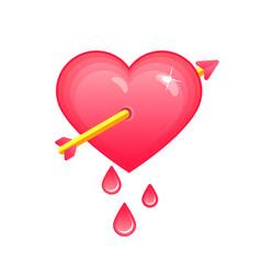 Heart pierced with arrow symbol of love vector