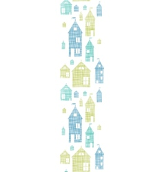 Houses blue green textile texture vertical vector image