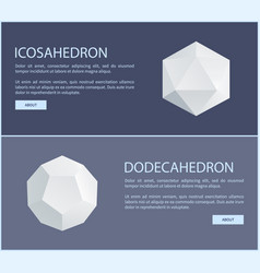 icosahedron dodecahedron isometric patterns set vector image