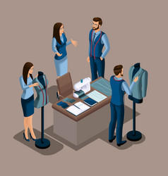 isometric tailor the creation of quality clothing vector image