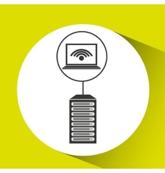 Laptop padlock data center connection vector