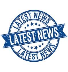 Latest news grunge retro blue isolated ribbon vector