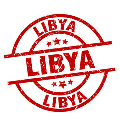 Libya red round grunge stamp vector
