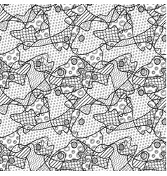 line art with monochrome pattern with fish heads vector image