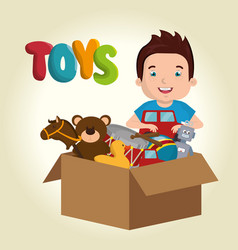 Little boy playing with toys character vector