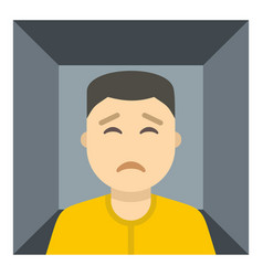 Man trapped in a box icon isolated vector