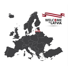 Map of europe with the state of latvia vector