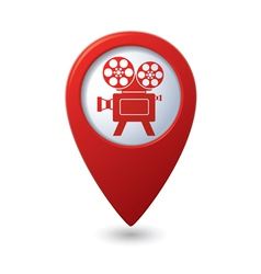 Map pointer with cinema icon vector