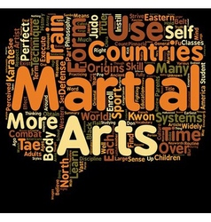 Martial Arts text background wordcloud concept vector image