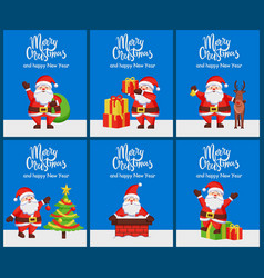 merry christmas and happy new year set posters vector image