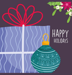 merry christmas celebration purple gift box and vector image