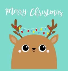 merry christmas deer fairy light garland on horns vector image