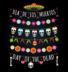Mexican dead day garlands vector