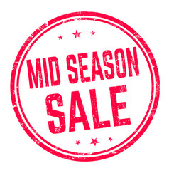 mid season sale sign or stamp vector image