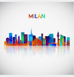 milan skyline silhouette in colorful geometric vector image
