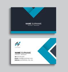 Minimal business card print template design blue vector