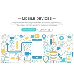 modern line flat design Mobile devices vector image