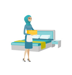 Muslim housekeeping maid with stack of linen vector