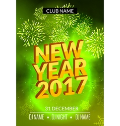 New Year party poster design with fireworks light vector image