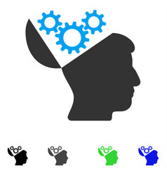 Open mind gears flat icon vector