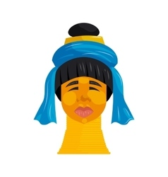 Padaung woman with neck rings icon cartoon style vector image