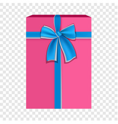 Pink gift box with blue ribbon icon flat style vector