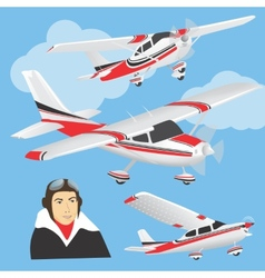 Planes with pilot vector image