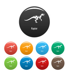 Raptor icons set color vector