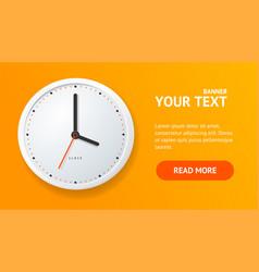 realistic detailed 3d clock banner horizontal vector image
