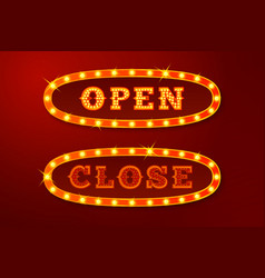 realistic glowing open and close signs vector image