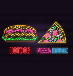 retro neon hot dog and pizza sign on brick wall vector image