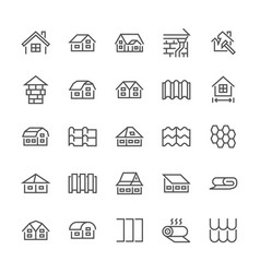 Roofing flat line icons house construction roofs vector