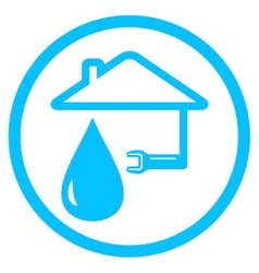 Round plumber icon with wrench and house vector
